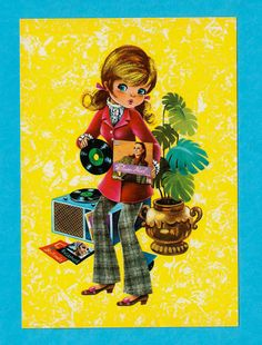 Vintage postcard 70s. Mod girl playing records. by bluumievintage, $4.75