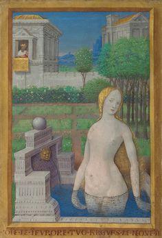 "By Jean Bourdichon (c.1457-1521, France), ""Bathsheba Bathing"", Miniature in the 'Book of Hours' of King Louis XII of France, J. Paul Getty Museum, California. Jean Bourdichon (c. 1457 - 1521), France"