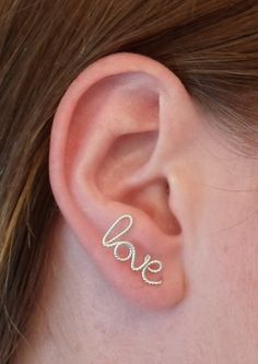 LOVE Earring Argentium 93 Sterling Silver twisted LOVE by alufolie, $17.00