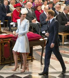 Britain's Prince Harry and Kate, Duchess of Cambridge attend a National Service of Thanksgiving to mark the birthday of Britain's Queen Elizabeth II at . Kate Harry, Prince Harry And Kate, Prince William And Harry, Prince Henry, Prince Charles, Queen Elizabeth Birthday, Queen 90th Birthday, Diana Spencer, Princesa Kate Middleton