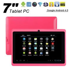 WolVol NEW (Android 4.0 - 1GB RAM) Ultra-Thin HOT PINK 7inch Tablet PC Touch Screen, WiFi and Camera with Google Play, Flash Player (Includes: Velvet Pouch Case, Touch Pen, Charger, Screen Protector)price: $99.94