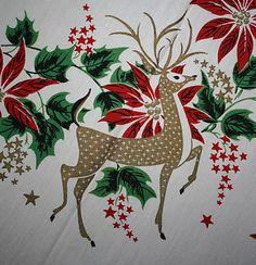 midcentury reindeer tablecloth print