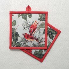 Cardinal Pot Holder, Redbird Pot Holder, Red Bird Pot Holder by QueenBeeStitcheryTX on Etsy