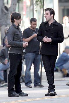 Milo Ventimiglia & Zachary Quinto on the set of Heroes