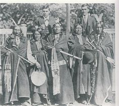 Brule delegation to Carlisel Indian School,Carlisle, Pennsylvania, May 1880 -- Back row l-r: Interpreters Louis Robidoux and Charles Tackett; Front row: Black Crow, Two Strikes, White Thunder, Spotted Tail, Iron Wing