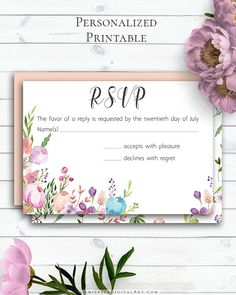 Floral Wedding Insert Card with pretty and colorful watercolor floral design in boho and vintage wedding style by Amistyle Digital Art on Etsy Wedding Rsvp, Boho Wedding, Floral Wedding, Rustic Wedding, Watercolor Wedding Invitations, Wedding Stationery, Response Cards, Save The Date Cards, Art Market