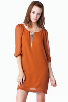 Fiero Shift Dress / ShopSosie #dress #orange #fall #chiffon #shopsosie