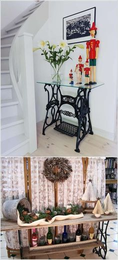 Hall table from old singer sewing machine base - Love the metal/glass combination Sewing Machine Tables, Antique Sewing Machines, Sewing Table, Repurposed Furniture, Painted Furniture, Furniture Makeover, Diy Furniture, Outdoor Furniture, Singer Table