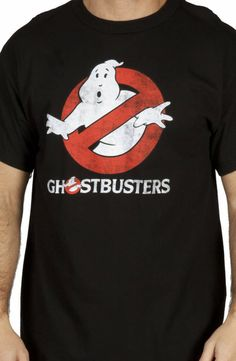 Distressed Glowing Ghostbusters T-Shirt: Ghostbusters Mens T-shirt