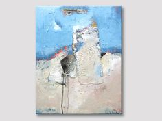 Original abstract painting, modern fine art acrylic painting, creme light blue white painting, paintings, abstract art, painting on canvas