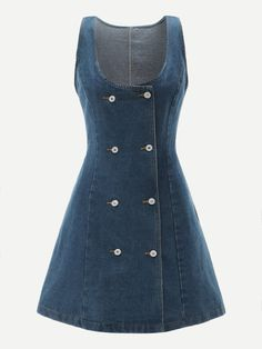 To find out about the Double Breasted Stitch Detail Denim Dress at SHEIN, part of our latest Denim Dresses ready to shop online today! Denim Dresses Online, Fashion Dresses, Fit N Flare Dress, Fit And Flare, Natural Clothing, All Jeans, Coat Dress, Mode Inspiration, Blue Fashion
