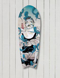 The Daily Board, Board art by Sedat Girgin Plenty of other amazing. Skateboard Design, Skateboard Art, Skateboard Pictures, Skate Art, Surfboard Art, Painted Boards, Surf Art, Art Boards, Illustrations Posters