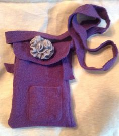Purple wool felt iPad mini bag small by mcleodhandcraftgifts