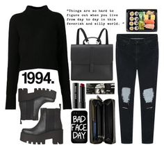 """#9 2015"" by dynh ❤ liked on Polyvore featuring Mode, Acne Studios, Danielle Foster, Bobbi Brown Cosmetics, Local Heroes, Coach, black, Boots, ripped und AM"