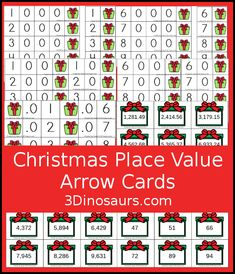 Free Christmas Themed Place Value Arrow Cards - work on building numbers from 0 to 9999 or 9999.99 to 0.99 with these Christmas Themed arrow cards. Plus use task cards to build the numbers. - 3Dinosaurs.com #placevalue #arrowcardsplacevalue #placevaluearrowcards #christmasprintable #christmasmath #handsonlearning #thirdgrade #fourthgrade