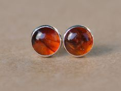 Amber Earrings handmade with Sterling Silver Earring Studs, 5mm Gemstone golden…