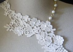 collier dentelle mariage ivoire fleurs...