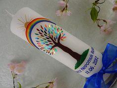 Kerze zur Taufe Taufkerze Lebensbaum Taufkerzen Regenbogen