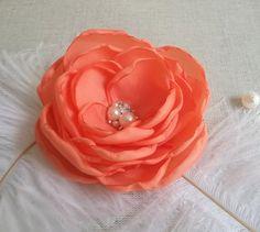 Coral Red Flower in handmade Bridal Bridesmaids von ZBaccessory, $19.00