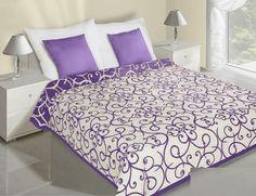 Květiny fialově krémové přehozy na postel oboustranné Hotel Bed, Bed Sets, Bedding Sets, Comforters, Ornament, Quilts, Luxury, Furniture, Design