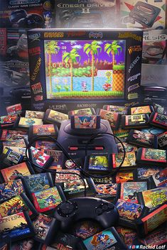 "Game art 585960601500898200 - ""Wakka Wakka Wakka"": Amazing Nostalgic Video Game Artworks By Rachid Lotf Source by kapplerraphal Retro Videos, Retro Video Games, Video Game Art, Retro Games, Classic Video Games, Sega Video Games, Vintage Video Games, Vintage Games, Ps Wallpaper"