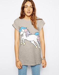 T-shirt with unicorn-print by ASOS