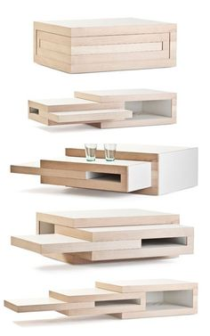 REK expandable coffee table expands when friends come over #furnituredesign