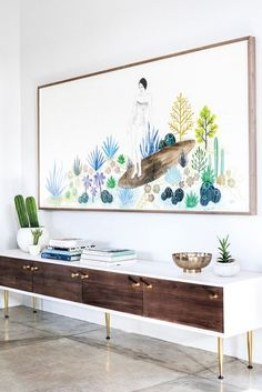 white // wood entryway, personalized art