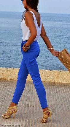 Blue + white.
