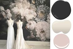 Dark Floral Wallpaper Mural. For a bold and elegant accent wall!  -Evadesigns