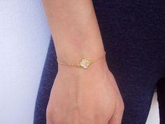 White Clover Bracelet 14k Gold Bracelet 14K by VasiaAccessories