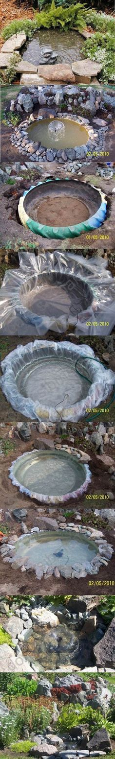 Backyard Landscaping Ideas - She took and old tire and created a backyard pond for a beautiful oasis. This DIY project is amazingly simple to do!
