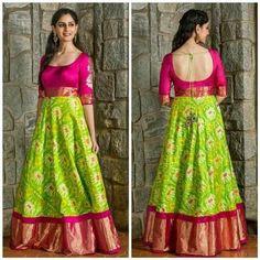 Innovative Ideas to make long gown dresses from old saree - Kurti Blouse Lehenga Designs, Half Saree Designs, Salwar Designs, Kurti Designs Party Wear, Kurta Designs Women, Saree Blouse Designs, Blouse Patterns, Long Gown Dress, Lehnga Dress