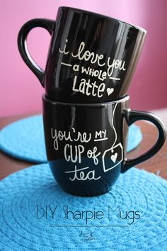 Make these super cute #DIY Sharpie #mugs with this tutorial from Living YOUR Creative! http://www.livingyourcreative.com/2014/01/diy-sharpie-mugs/