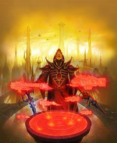 "Eldar. ""Lets You and Him Fight"", illustation from Warhammer 40k Dark Heresy roleplay book by Alexandr Elichev"