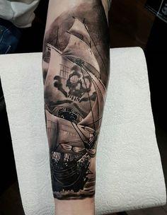 Boat sleeve tattoo - 100 Boat Tattoo Designs <3 <3