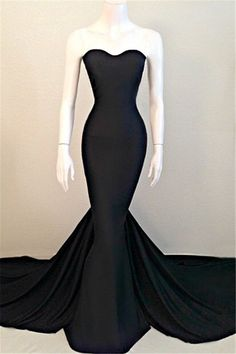 Sexy Mermaid Black Sweetheart Evening Dress 2016 Sleeveless Sweep Train_High Quality Wedding & Evening Prom Dresses at Factory Price-27DRESS.COM