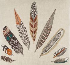Coral & Tusk Plumes Feather Fan Embroidery