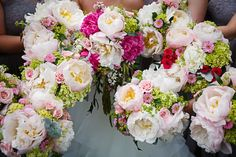 Pink peonies and roses for the brides and bridesmaids. // Venue: Alexlee House.  Greg Moss Photography