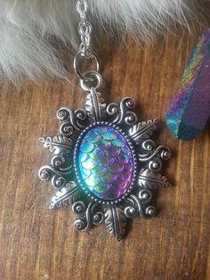 Mermaid Scale Charm Necklace Silver Iridescent Dragon Egg Stone Handmade Fashion Jewelry