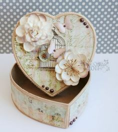 Beautiful Altered Box-Pink Paislee- Butterfly Garden collection