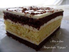 "Пирожное ""Сфера""(I didn't really like the cream but cake is good) Hungarian Cake, Homemade Cakes, Vanilla Cake, Tiramisu, Deserts, Sweets, Cream, Baking, Ethnic Recipes"
