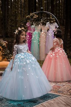ed86375f61 Unique Tulle Bateau Neckline Half Sleeves Ball Gown Flower Girl Dresses  With Belt   Bowknot