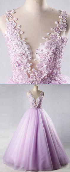 Lilac tulle V neck long halter 3D lace appliques prom dress, quinceanera dress #prom #dress #promdress #promdresses