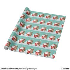 Santa and Deer Stripes Teal Wrapping Paper Christmas Card Holders, Christmas Cards, Custom Wrapping Paper, Hand Sanitizer, Keep It Cleaner, Deer, Great Gifts, Wraps, Santa