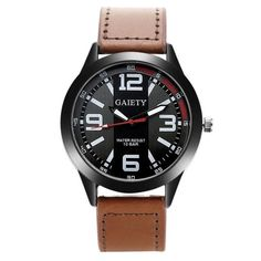 acdccbb96b6 Gaiety Fashion Men Watch Casual Black Face Leather Strap Quartz Wristwatch  Watches For Men Business Sport Classic Gift Clock