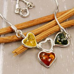 Falling in Love Sterling Silver Natural Baltic Amber Necklace