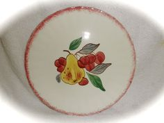"""SET OF 4 BLUE RIDGE 'COUNTRY FAIR' 8 1/2"""" PLATES RED EDGE EACH DIFFERENT FRUIT #BLUERIDGESOUTHERNPOTTERIES"""