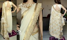 Varuni Gopen designed cream and gold coloured saree and blouse design. Indian fashion.