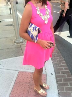 Ikat clutch with Jack Rogers sandals and statement necklace + bold, solid color sundress